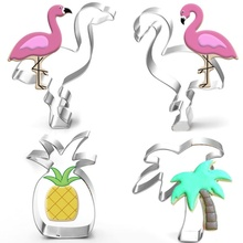 1PC Stainless Steel Cookie Cutters Cute Flamingo Pineapple Style Biscuit Mold Cake decorating tools