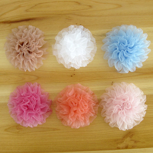 Freeshipping 60pcs/lot Fashion diy rosette flowers for headbands hair flowers carnation tulle flower accesories hair FH34
