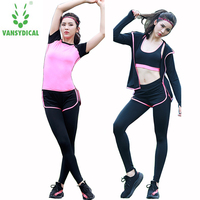 Spring and summer gym Yoga suit professional fast dry Jacket Women's sports suit vest jogging pants thin four sets