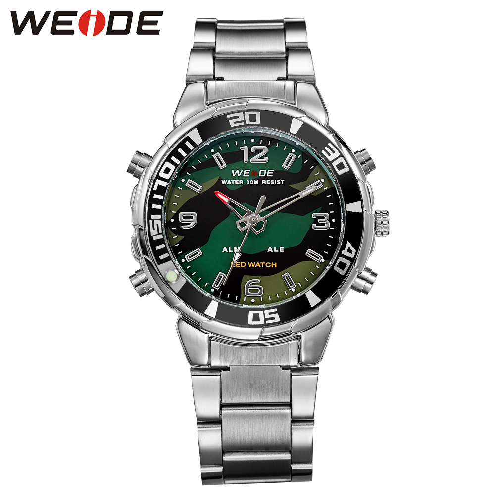 New WEIDE Army Watches Men's Full Steel Luxury Brand Quartz Military Sports Watch Analog Digital Display Free Shipping/WH843 hot sale brand military watch date display mens watches full steel watches men s sports army quartz watch free shipping 029b