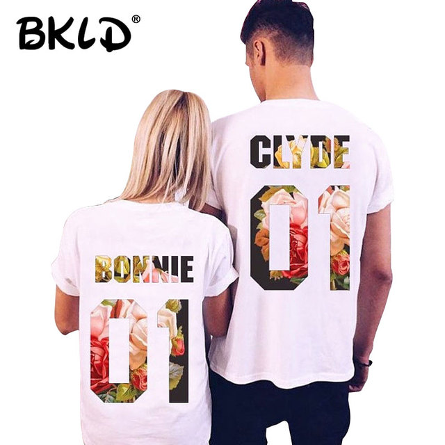 Bkld 2018 Summer New Valentine T Shirts Letters Bonnie 01 Clyde 01
