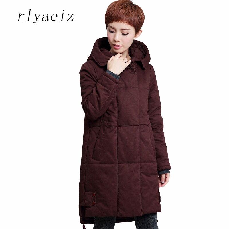 RLYAEIZ Jackets and Coats 2017 Winter Jacket Women Parka Middle-long Womens Thicken Hooded Warm Outerwear Coats Plus Size M-4XL