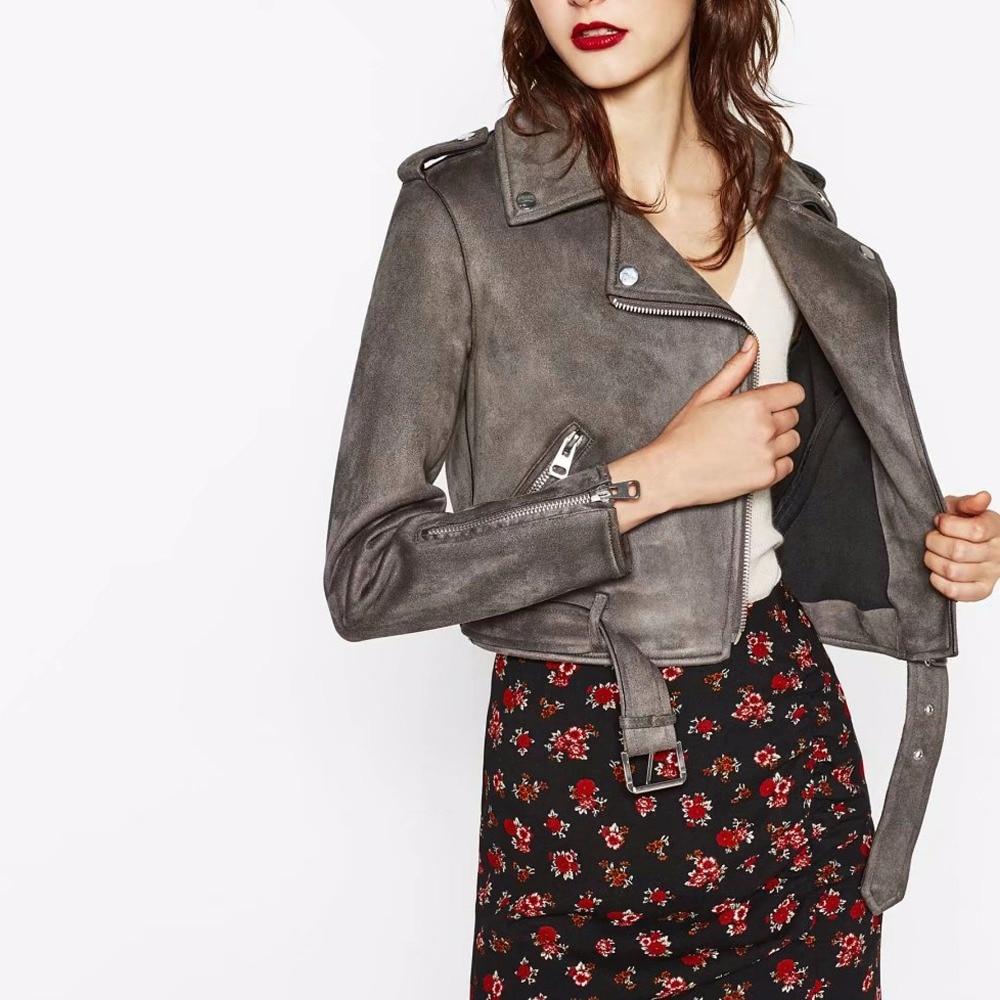 New Autumn Fashion Street Women's Short Basic Suede Leather Jacket Zipper Bright Colors New Ladies Basic Jackets Good Quality