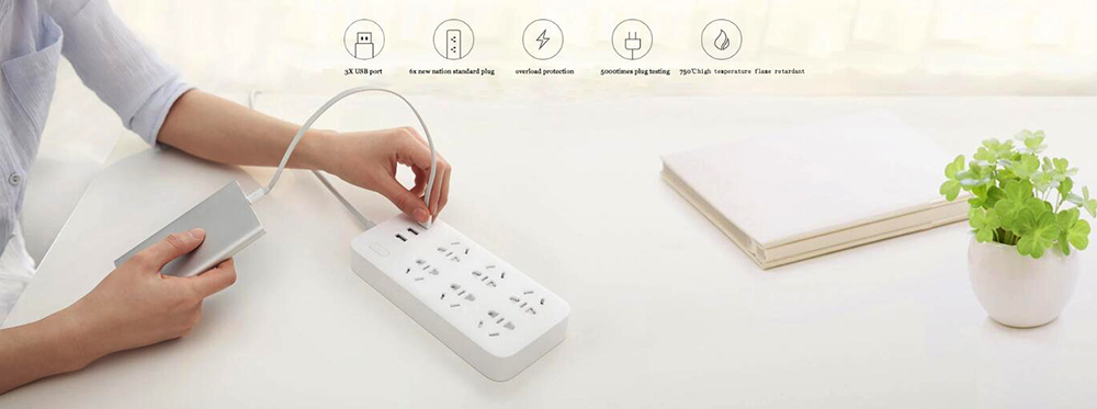 XIAOMI MIJIA Smart Power Strip 2A Fast Charging 3 USB Extension Socket Plug 6 Standard Socket Adapter 1.8m 100% Original (2)