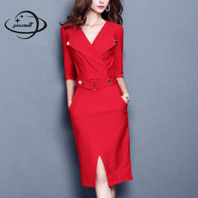 YAUAMDB women dress 2017 winter autumn size S-3XL female knee-length dresses  half 1d1a944c92ec