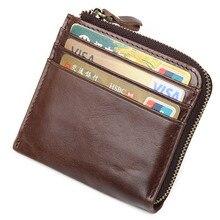 Genuine Leather Slim Coin Purse Men Zipper Around Wallet Card Holder Women Money Pocket  R-8448