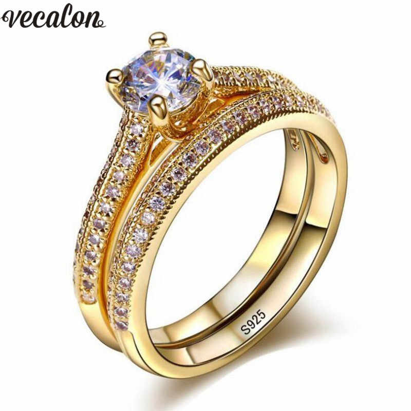Vecalon 3 ألوان عشاق حلقة مجموعة 5A الزركون تشيكوسلوفاكيا الذهب شغل 925 الفضة المشاركة الزفاف الفرقة خواتم للنساء مجوهرات الزفاف