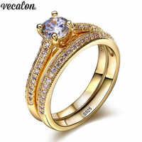 Vecalon 3 farben Liebhaber ring Set 5A Zirkon Cz Gold Gefüllt 925 silber, Verlobung, hochzeit Band ringe für frauen Braut schmuck