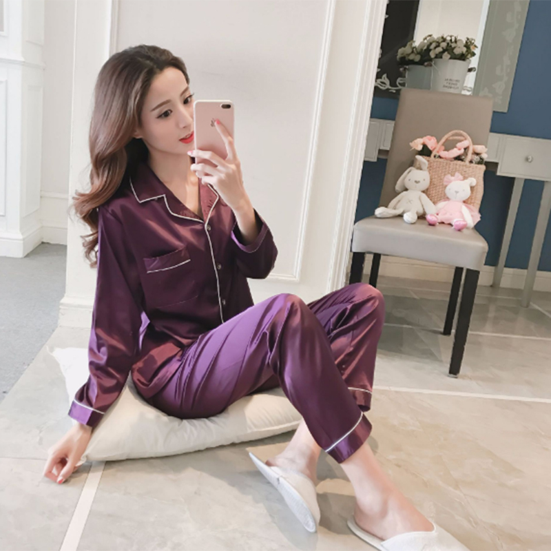 Women's Silk Pajamas For Women Satin Women Pajamas Sets Long Sleeves Turn-down Collar Pocket Decor Top+Pants Women Silk Pajamas