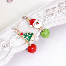 New Arrival Cute Christmas Earrings Santa Snowman Christmas Tree Earring Holiday Gifts For Womens Ladys Asymmetrical Earrings