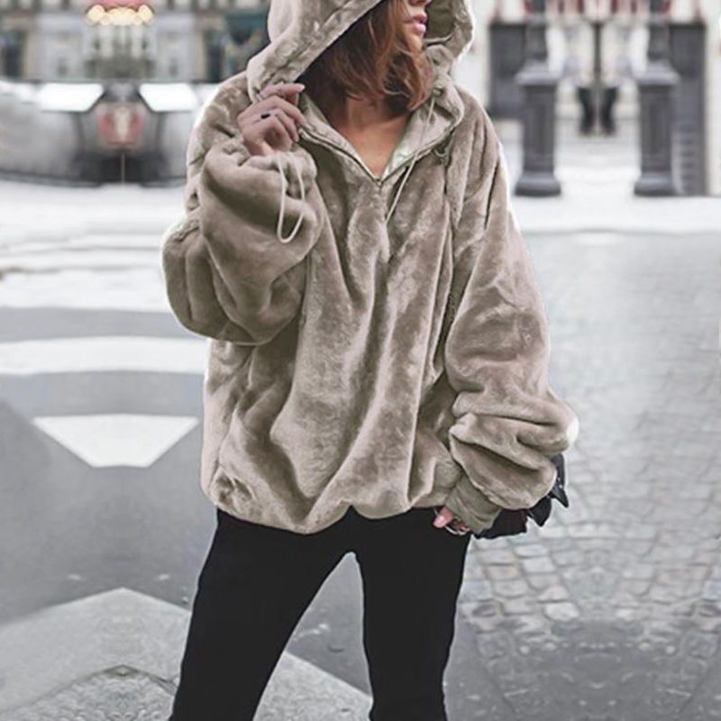 Harajuku Hoodies Women Sweatshirts Spring Autumn Winter Plush Lovely Hooded Hoodies With Zipper Plus Size Pullovers V Neck Loose