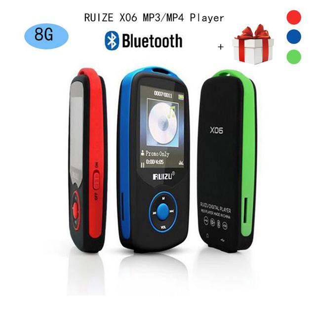 2017 Nueva Original RUIZU X06 Bluetooth Deportes Reproductor de música MP3 8 GB con 1.8 Pulgadas de Pantalla 100 horas de alta calidad lossless Grabadora de FM
