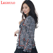 High Quality Tweed Jacket Pearls Coat Ladies Autumn Winter Fragrant Black Plaid Female Jackets Woolen Short Slim Coat W481(China)