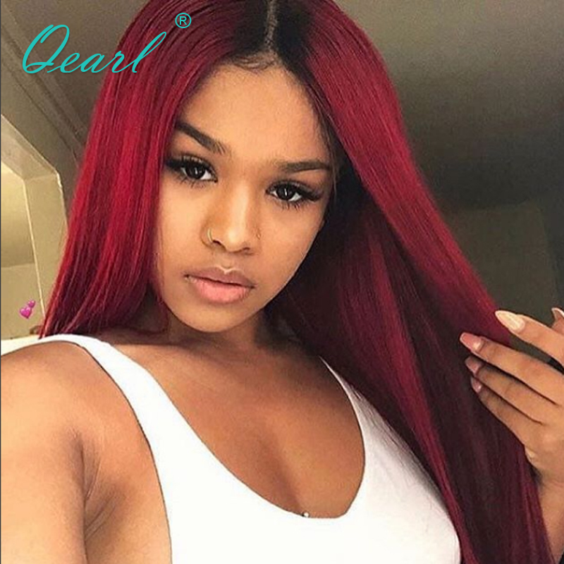 Red Color Human Real Hair Full lace Wig Ombre Color Brazilian Straight Remy Hair Full Lace