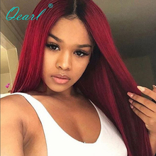 Red Color Human Real Hair Full lace Wig Ombre Brazilian Straight Remy Lace Natural Hairline Baby Hairs Qearl