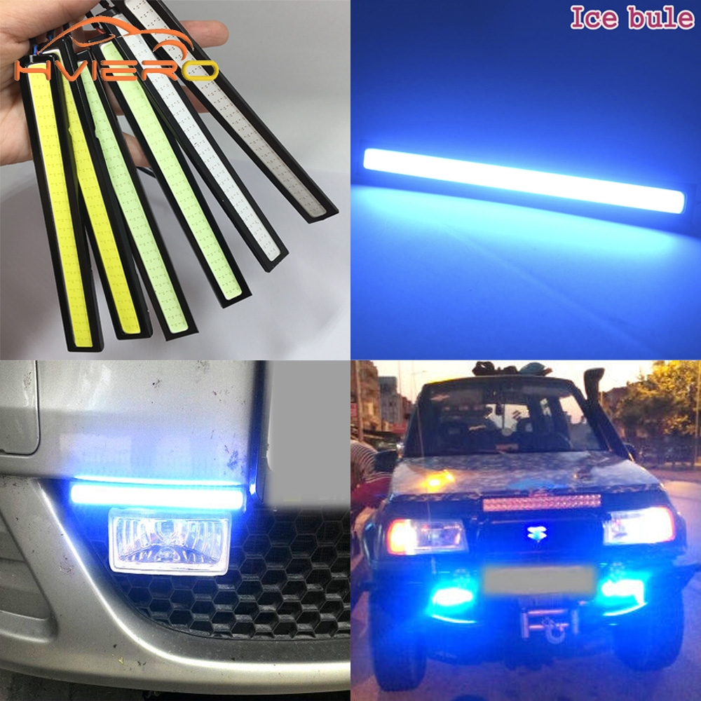 1pcs 14cm LED COB Car Auto DRL Driving Daytime Running Lamp Fog Light White DIY Ultra Bright Waterproof DC 12V Double Row Bulb 1 pair metal shell eagle eye hawkeye 6 led car white drl daytime running light driving fog daylight day safety lamp waterproof