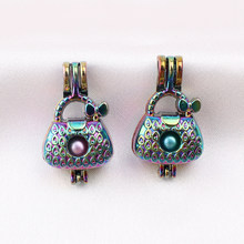 5pcs Rainbow Color Women's Bowknot Handbag Pearl Cage Pendant for Perfume Essential Oil Aroma Diffuser Lockets Necklace Making(China)