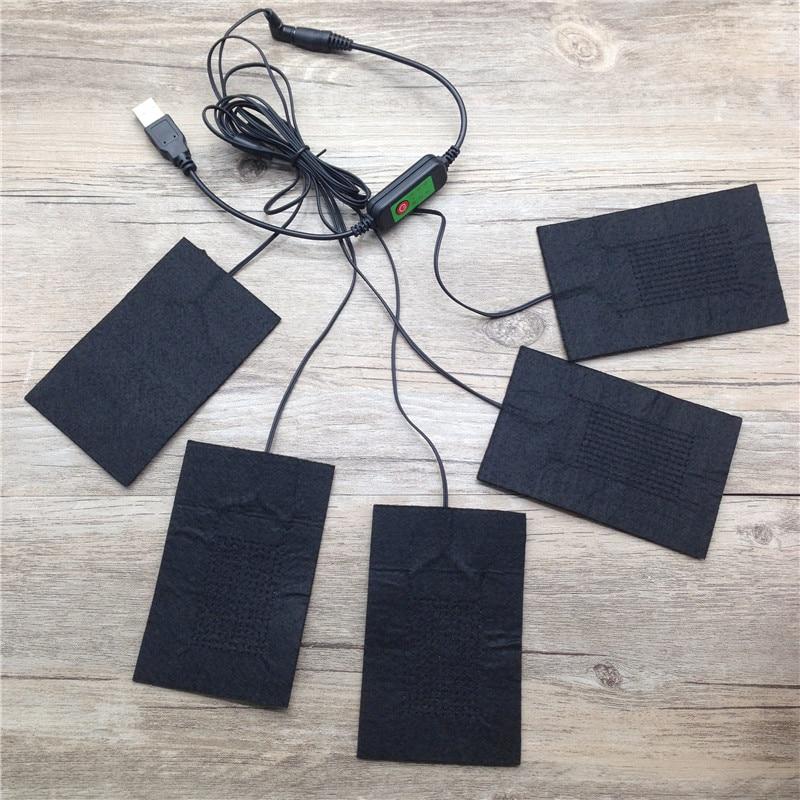 USB с подогревом пальто куртки жилет Интимные аксессуары 5 в 1 carbon Волокно с подогревом колодки Тепло Обратно Средства ухода за кожей Шеи быстрого нагрева 3 температура настройки