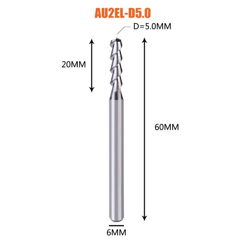 1 pc 3 флейты фрезы вольфрамового сплава концом ЧПУ фреза алюминий фреза для алюминия и деревообрабатывающие - Длина режущей кромки: 1PC-AU2EL-D5.0-H6