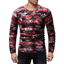 MarKyi 3d -Print Camouflage Tee Top Male Hiphop Streetwear Long Sleeve Fitness Tshirts Men Printed Camouflage Male T-shirts