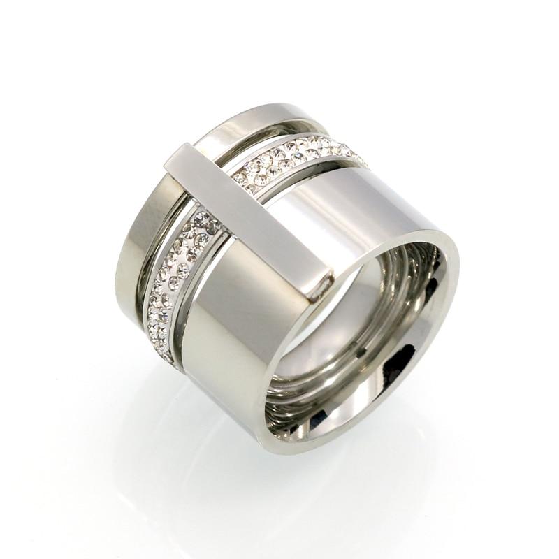 Złoty Kolor Cyrkon Kryształ Tytanu Pierścienie Ze Stali - Modna biżuteria - Zdjęcie 2