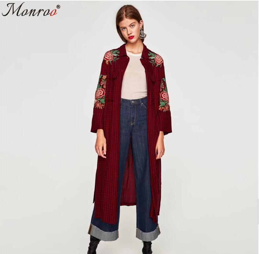 Women Autumn Winter Long Kimono Shirt Coat Ladies Red Plaid Flower Embroidery Chic Long Coats With Belt Side Split