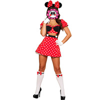 Abbille 2017 Sexy Miss Mouse Cosplay Adult Costume 4 Pieces Outfit Exotic Apparel Women Fantasia Red