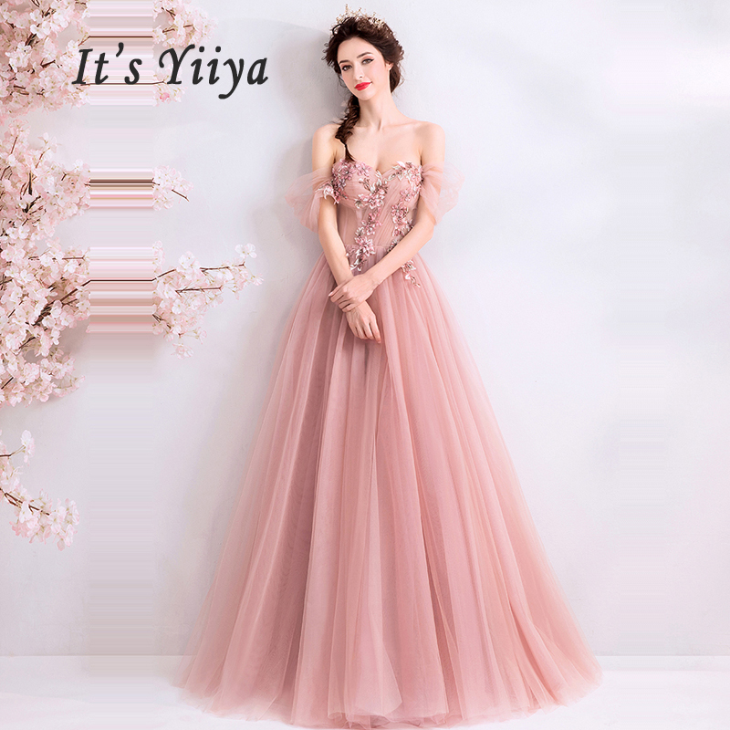 It's Yiiya Evening Dress Pink Boat Neck Women Party Dresses Sleeveless Evening Gowns 2019 Long Plus Size Robe De Soiree E634