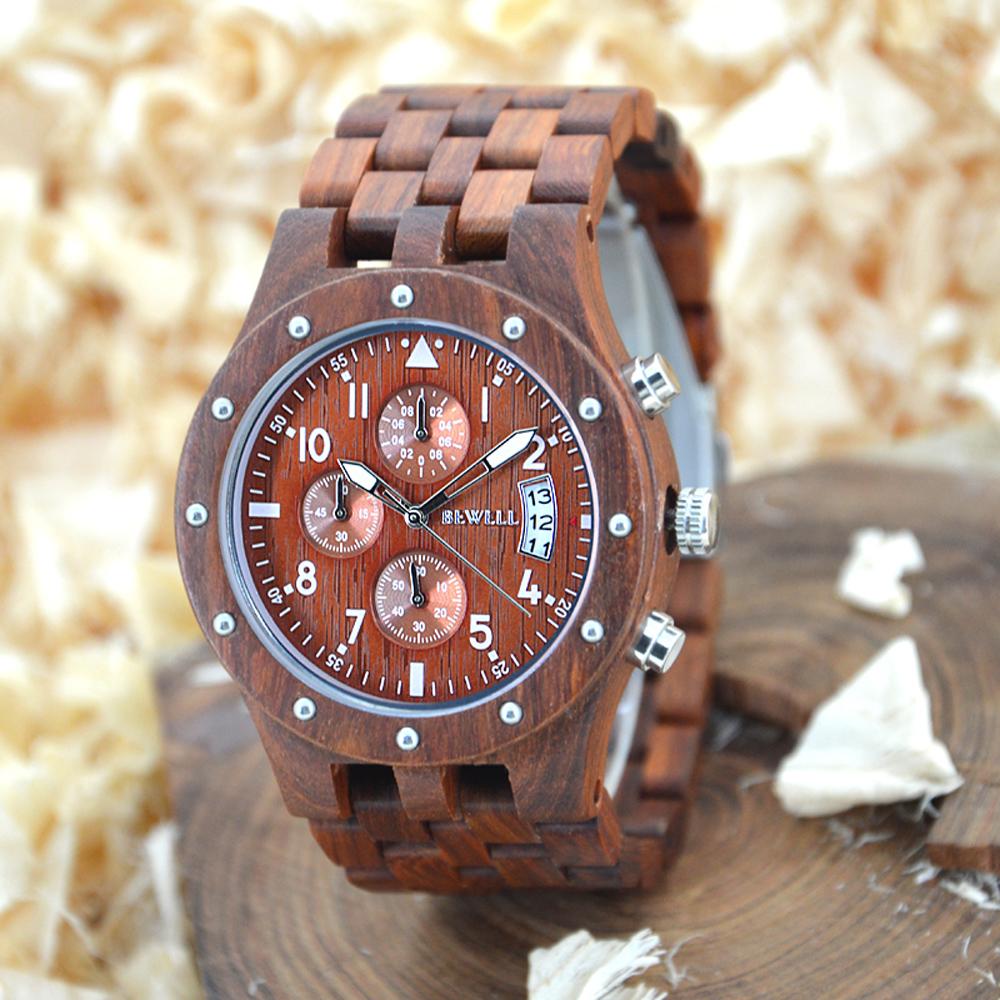 Prix pour Bewell vente chaude montre hommes montre à quartz naturel bois montres de luxe top marque-bracelet-montre trois cadrans noir Vendredi 109d