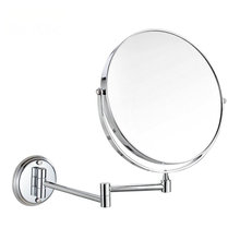 Stainless Steel 3 Times Enlarge Folding Wall Mirror Double Faced Retractable Makeup Bathroom