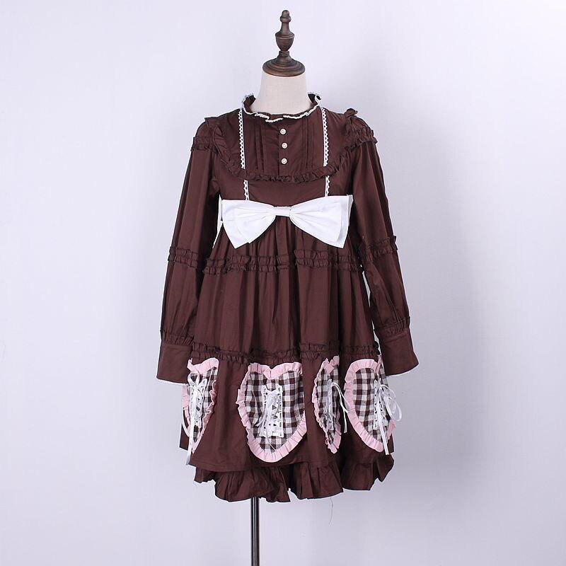 Femmes blanc café mode Dorothy poupées Costume coeur imprimé coton robe Cosplay Anime tenue Ouji Lolita vêtements pour les filles