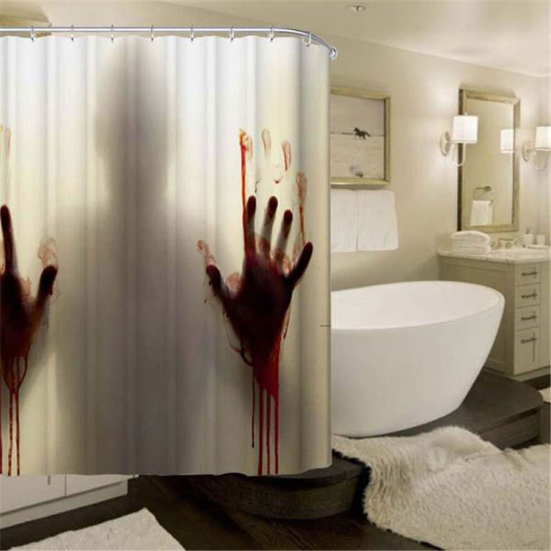 Halloween Bloody Shower Curtain,Help Me With Bloody Hands Horror Scary Spooky,Waterproof Bath Curtains Bathroom Decor with Hooks