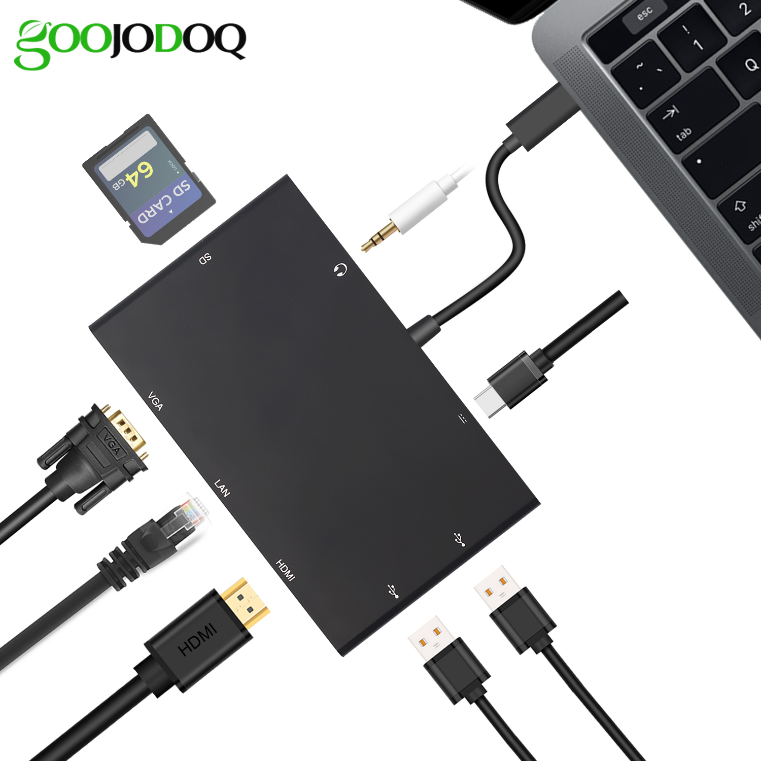 8 in 1 USB C Hub to HDMI VGA, USB-C Rj45 Gigabit Ethernet, 2 USB 3.0 & 3.5mm Audio Jack /Card Reader /Type C Charger for Macbook 668 usb 3 1 type c card reader