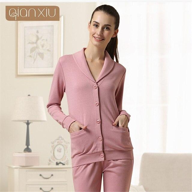 Qianxiu Pyjamas Modal Cotton pure color Pajama Set For Women Casual  Patchwork Home clothing Couples Matching Lounge Wear onesie e2e50da4d