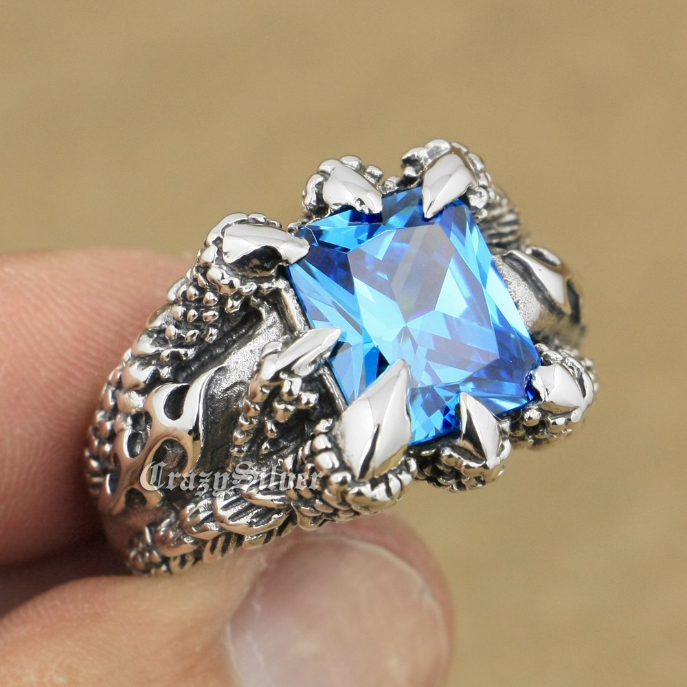 LINSION Huge Blue CZ Stone 925 Sterling Silver Dragon Claw Ring Mens Boys Biker Rock Punk Ring 8T102 USA