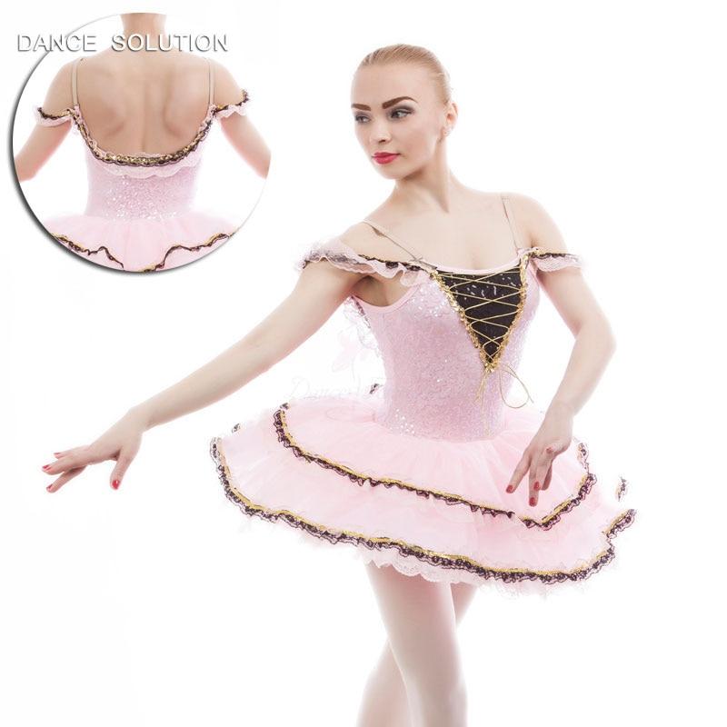 Sparkling Pink Red Ballet Dance Tutu Sequin Dress Child Adult Ballet Costume 17052