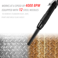 Needle Scaler Removing Rust Slag Tool Air Pneumatic Rust Corrosion Slag Remove Deburring Cleaning Tool With 12 Steel Needles