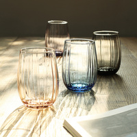 Minimalist Nordic colorful glass set drinking cups home Round large belly tea cups