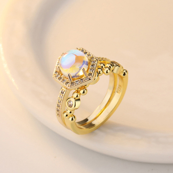 Exquisite Bridal Marriage Engagement Ring Shiny Silver Pure Natural Crystal Fire Opal Ring High Jewelry 2