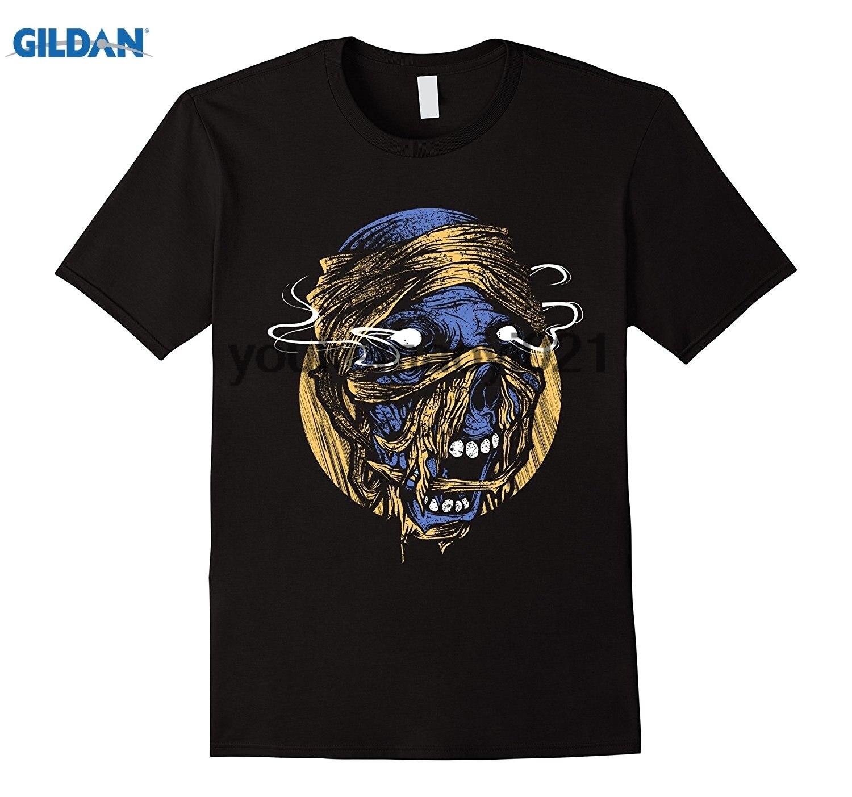 GILDAN Terrifying Zombie Skull T Shirt with Burning Eyes Halloween