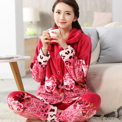 Women Pajamas suit Sleepwear fall and winter Nightgrowns Flannel Coral Fleece Long-sleeve Nightdress Ladies winter pajamas