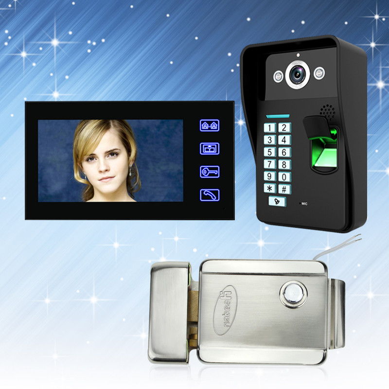 7'' Color Video Intercom System Door Phone Touch Monitor Scree With RFID Fingerprint IR Outdoor Camera Password Unlock+E Lock free shipping 7 screen video door phone intercom system fingerprint code keypad unlock door camera electric mechanical lock