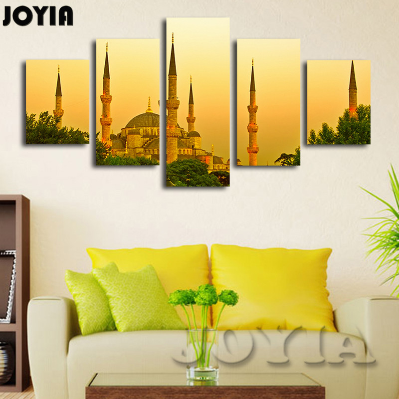 Aliexpress Buy 5 Panel Home Decor Wall Pictures Istanbul Turkey Dusk Landscape Painting Contemporary Canvas Art Prints For Houseroom No Frame From
