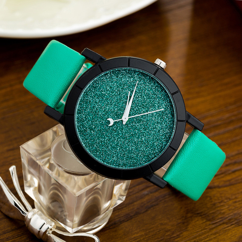 Ladies Casual Watch fashion Rhinestone Women Dress Watch Lovers' Leather Quartz Wristwatch Cute Moon Stars Design clock hours 15