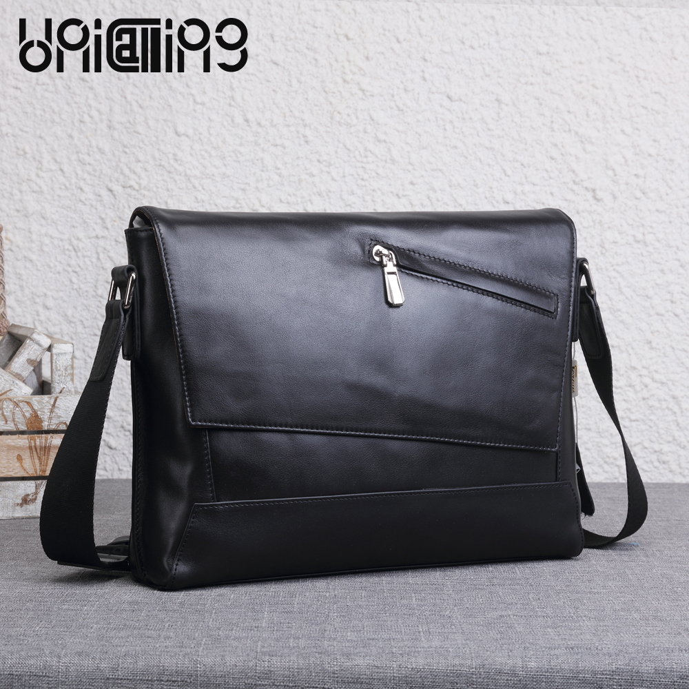 UNICALLING messenger bag men leather new style premium quality leather men bag unicalling denim