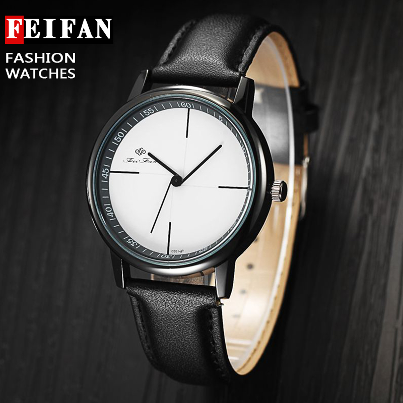 New Fashion Unisex Feifan Brand Leather Watches Quartz Men's Casual Wrist Watch Male Simple Casual Wristwatch Relogio Masculino
