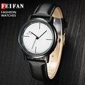 Nueva Moda Unisex Feifan Marca Relojes de Cuarzo Reloj de Pulsera Hombres Ocasionales Masculinos de Cuero Casual Simple Reloj de Pulsera Relogio masculino