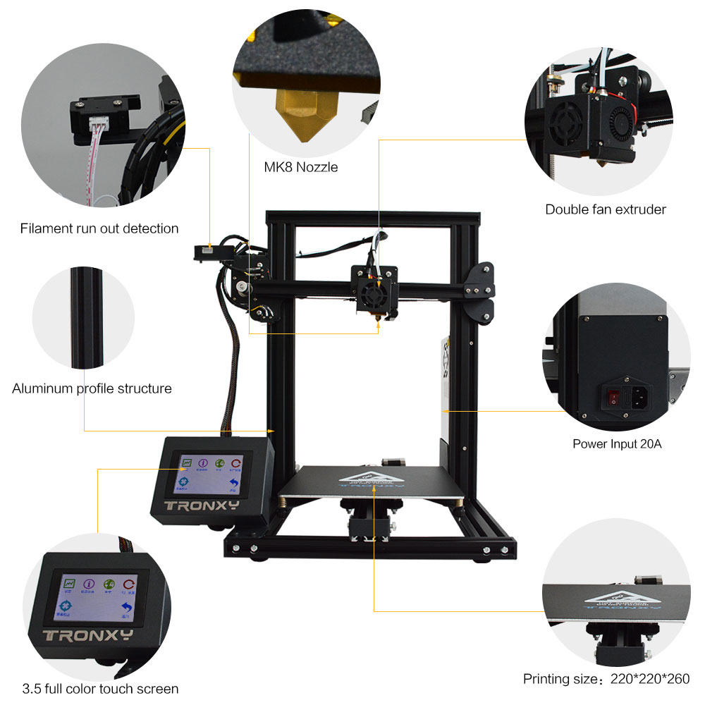 Image 2 - Tronxy XY 2 Fast Assembly Full metal 3D Printer 220*220*260mm High printing Magnetic Heat Paper 3.5 Inches Touch Screen-in 3D Printers from Computer & Office