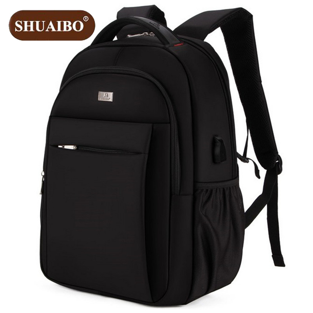 63ede7da54d2 Shuaibo Men s School Backpack 15 Inch Notebook computer Bags Oxford USB  Interface Fashion Business Travel Bag Z654