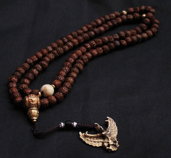 BRO691 Tibetan Rudraksha Bodhi Mala with Golden Mantras Guru Beads Tibetan Amulet Jewelry Free Ship